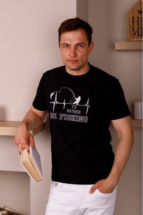 Купити чоловічу футболку Casual Щастя Рибака (чорна)  в Україні від Галичанка фото 1