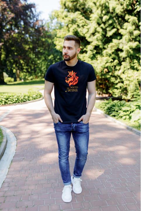 Купити чоловічу футболку Casual Місто Лева (чорна)  в Україні від Галичанка фото 1