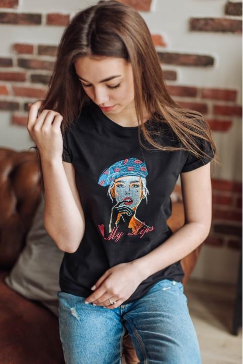 Купити жіночу футболку casual Lips (чорна) в Україні від Галичанка фото 1