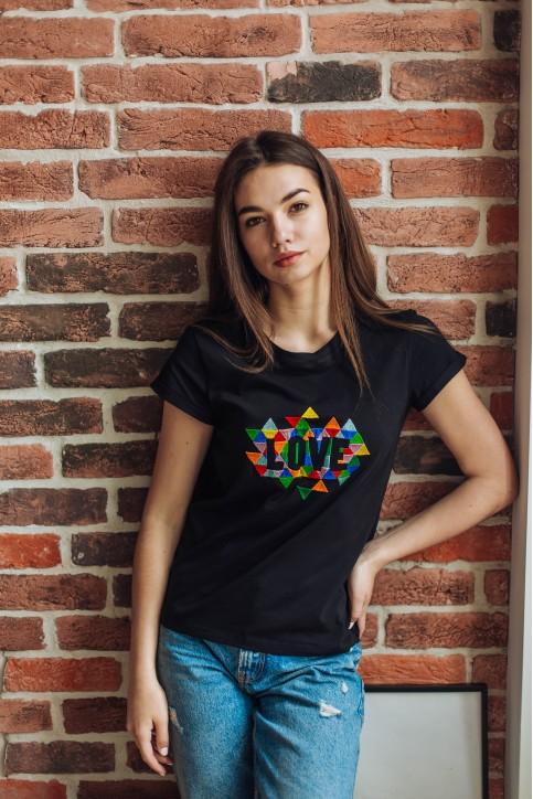 Купити жіночу футболку casual Love (чорна) в Україні від Галичанка фото 1