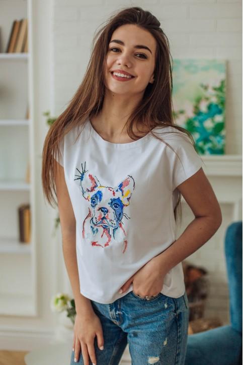 Купити жіночу футболку casual Бульдог (біла) в Україні від Галичанка фото 1