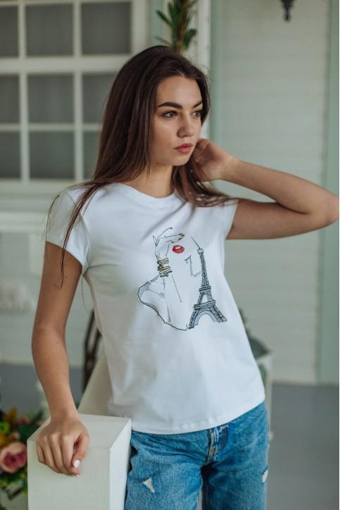 Купити жіночу футболку casual Париж (біла) в Україні від Галичанка фото 1