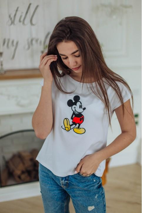 Купити жіночу футболку casual Міккі Маус (біла) в Україні від Галичанка фото 1