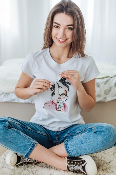 Купити жіночу футболку casual Кава (біла) в Україні від Галичанка фото 1