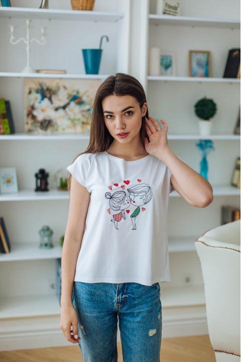 Купити жіночу футболку casual Дівчинка і хлопчик (біла) в Україні від Галичанка фото 1