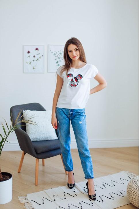 Купити жіночу футболку casual Міккі Love (біла) в Україні від Галичанка фото 1