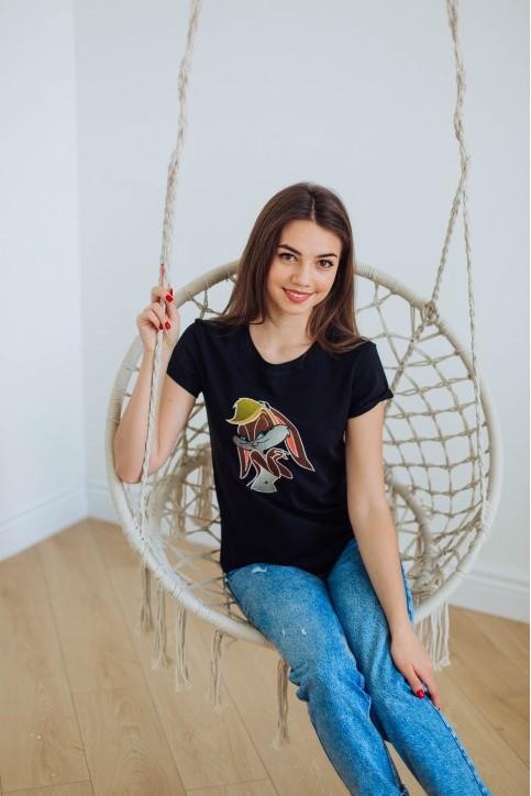 Купити жіночу футболку casual  Лола (чорна) в Україні від Галичанка фото 1