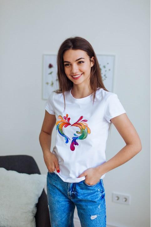 Купити жіночу футболку casual Феєрверк (біла) в Україні від Галичанка фото 1