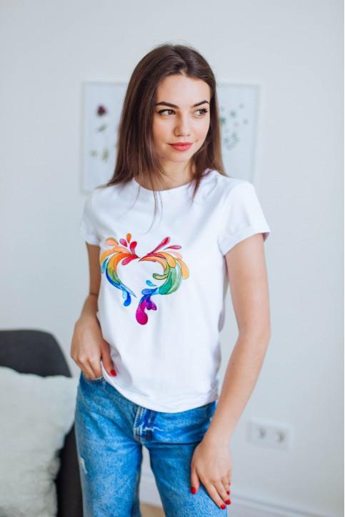Купити жіночу футболку casual Фейєрверк (біла) в Україні від Галичанка фото 1