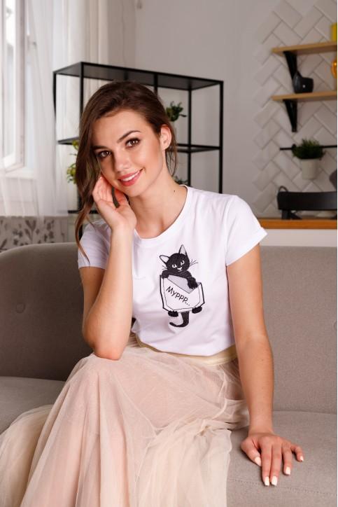 Купити жіночу футболку casual  Мурр (біла) в Україні від Галичанка фото 1