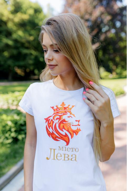 Купити жіночу футболку casual Місто Лева (біла) в Україні від Галичанка фото 1