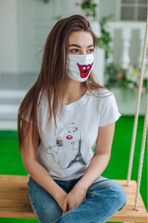 Купити захисну маску Зубки (біла) в Україні від виробника Галичанка фото 1