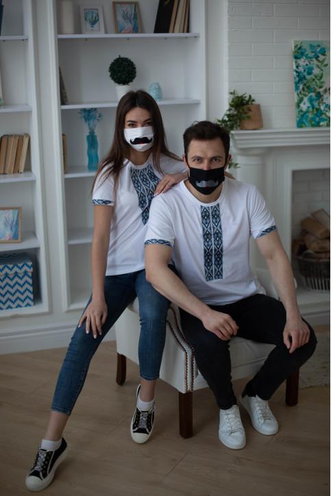 Купити парні вишиванки Фаворит і фортуна (біла з сірим) в Україні від Галичанка фото 1