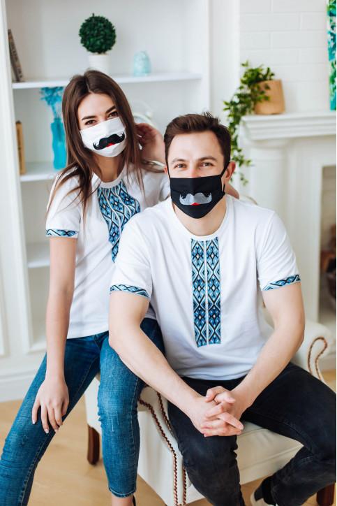 Купити парні вишиванки Фаворит і фортуна (біла з синім) в Україні від Галичанка фото 1