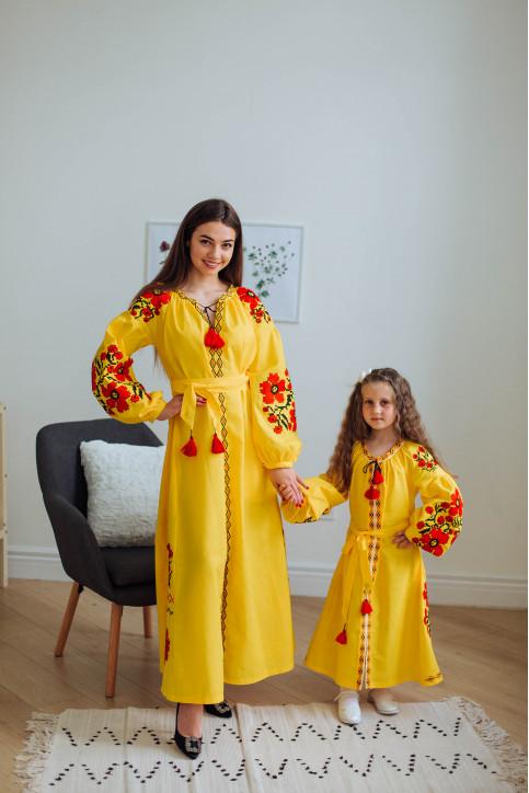 Купити парні вишиванки Паризький букет і квіти Праги (жовте) в Україні від Галичанка фото 1