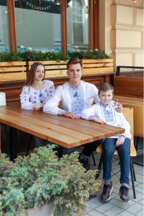 Купити парні вишиванки Капрал і молодший капрал (білий з синім)+ Аквамарин в Україні від Галичанка фото 1