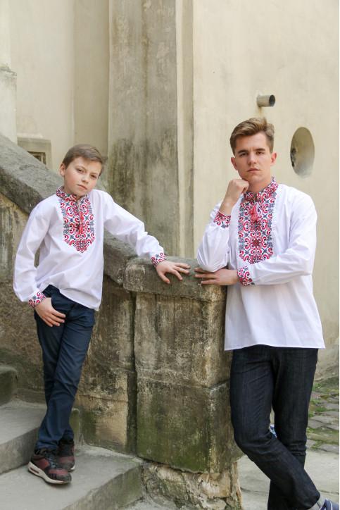 Купити парні вишиванки Полковник і підполковник (білий з червоним) в Україні від Галичанка фото 1