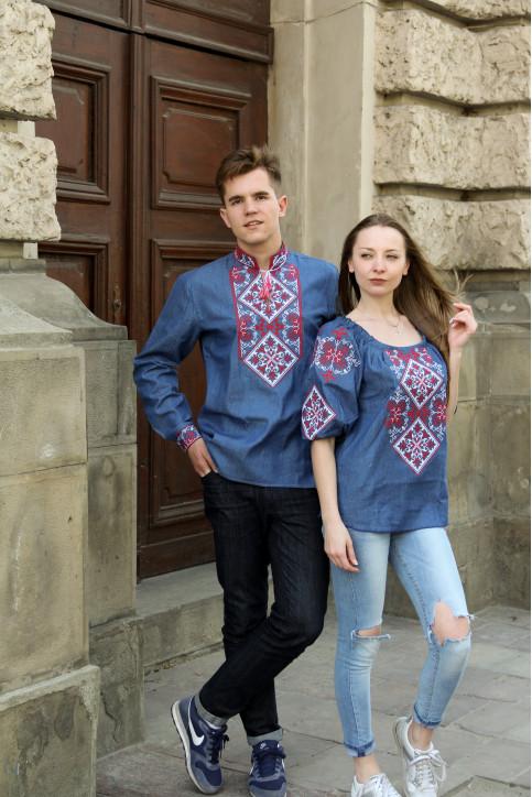 Купити парні вишиванки Комплект Говерла дж.синій з червоним в Україні від Галичанка фото 1