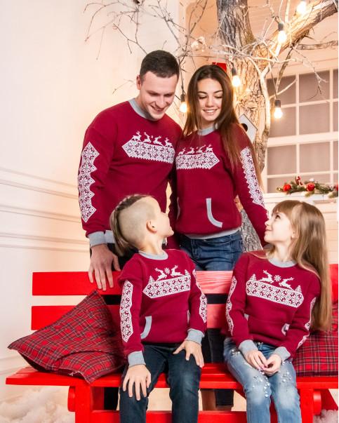 Купити парні вишиванки Сімейний лук Різдвяна зірка (бордо) в Україні від Галичанка фото 1
