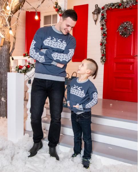 Купити парні вишиванки Комплект Різдвяна зірка джинс (хлопчик+чоловік) в Україні від Галичанка фото 1