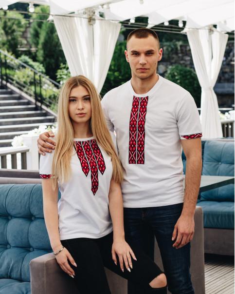 Купити парні вишиванки Фаворит і фортуна (біла з червоним) в Україні від Галичанка фото 1
