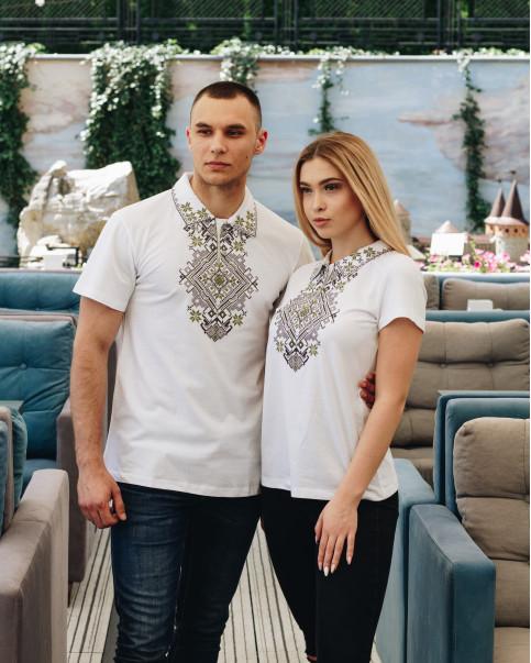 Купити парні вишиванки Перемога і Вікторія (біла з оливкою) в Україні від Галичанка фото 1
