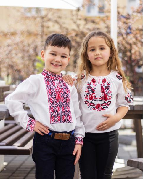 Купити парні вишиванки Левко та іваничка  (біла з червоним) в Україні від Галичанка фото 1