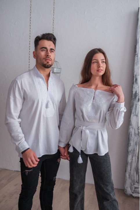 Купити парні вишиванки Комплект Княжий Амулет (білий) в Україні від Галичанка фото 1