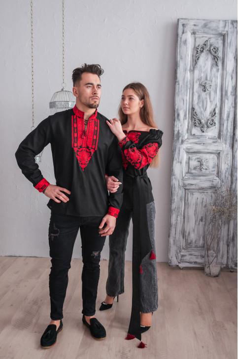 Купити парні вишиванки Комплект Княжий Амулет (чорна) в Україні від Галичанка фото 1