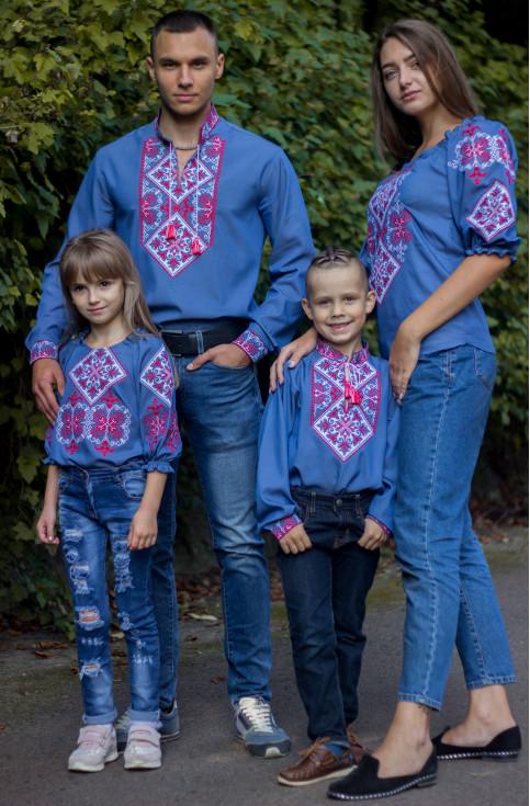"""Купити парні вишиванки Сімейний лук """"Говерла"""" (джинс з червоним) в Україні від Галичанка фото 1"""