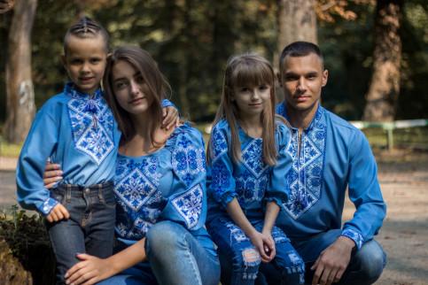 """Купити парні вишиванки Сімейний лук """"Говерла"""" (джинс з синім) в Україні від Галичанка фото 1"""