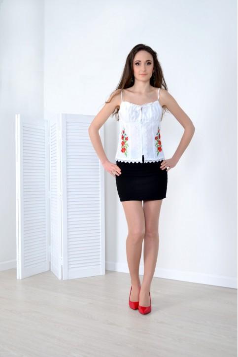 Купити жіночий корсет Мак (білий з червоним) з вишивкою в Україні від Галичанка фото 1