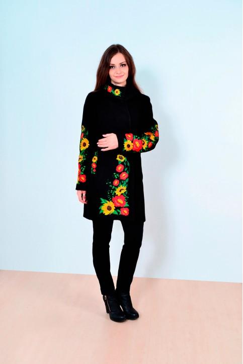 Купити пальто з вишивкою Багатство (чорне)в Україні від Галичанка фото 1