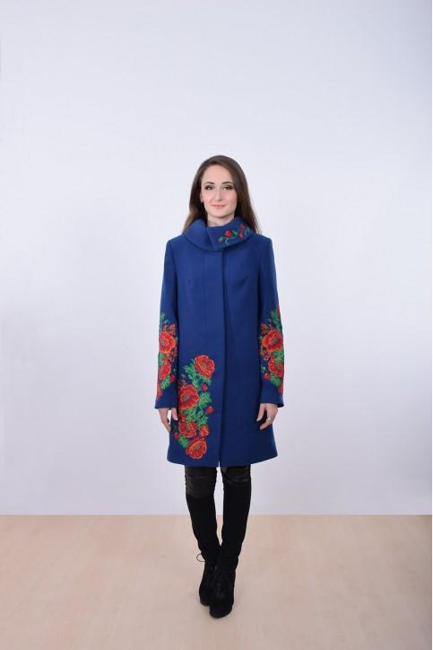 Купити пальто з вишивкою Букет маків (темно синє)в Україні від Галичанка фото 1