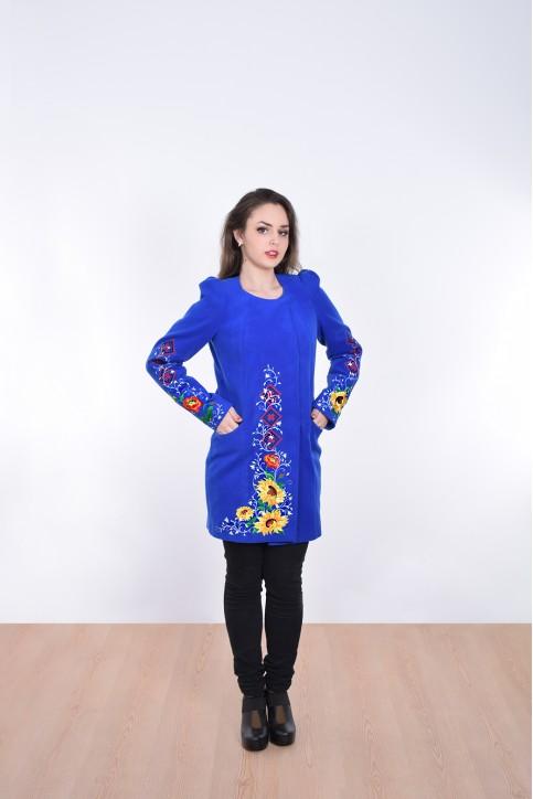 Купити пальто з вишивкою Долина сонця (електрик)в Україні від Галичанка фото 1