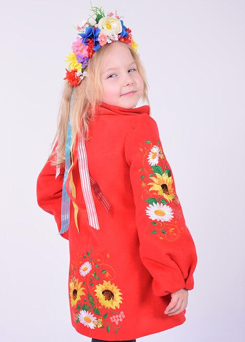 Купити пальто для дівчинки Метелик (червоне) в Україні від Галичанка фото 1