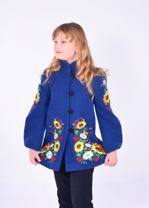 Купити пальто для дівчинки Метелик (темно синє) в Україні від Галичанка фото 1