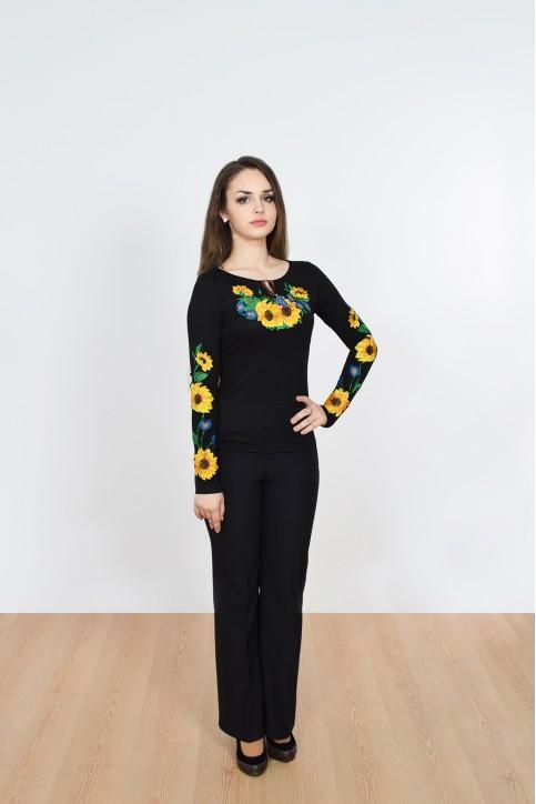 Купити жіночу футболку вишиванку Сонячна заграва (чорна) в Україні від Галичанка фото 1