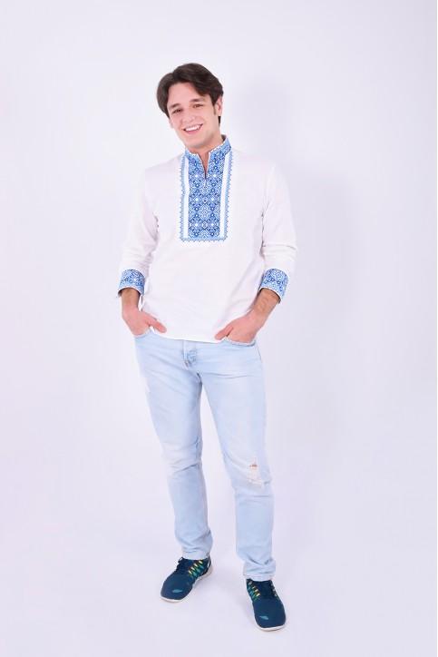 Купити чоловічу вишиту сорочку Гетьман плюс (біла з синім)в Україні від Галичанка фото 1