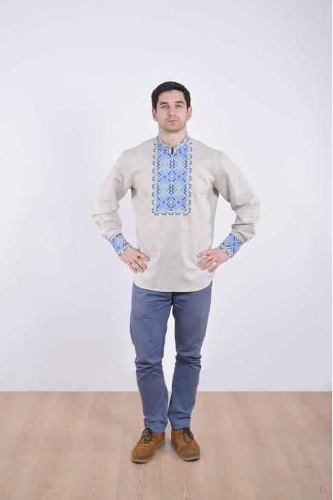 Купити чоловічу вишиту сорочку Отаман плюс ( біла з синім ) в Україні від Галичанка фото 1