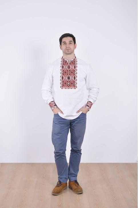 Купити чоловічу вишиту сорочку Отаман плюс ( біла з червоним) в Україні від Галичанка фото 1