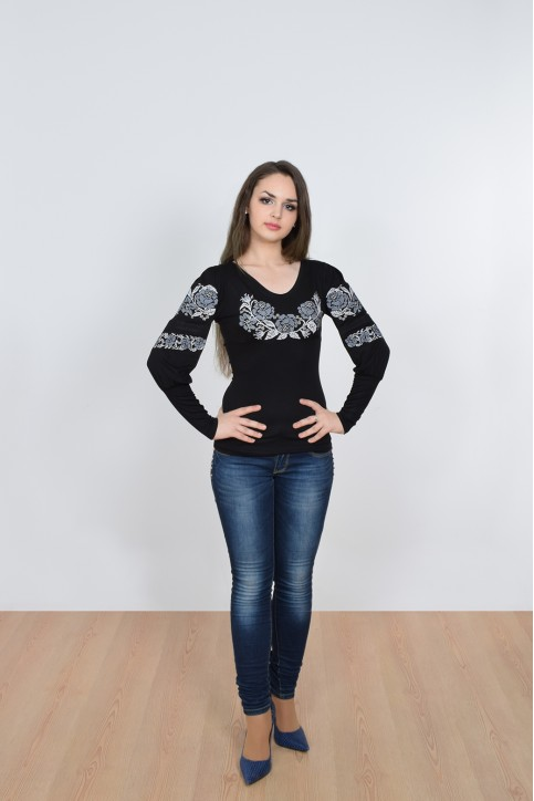 Купити жіночу футболку вишиванку Ружа (срібна) в Україні від Галичанка фото 1