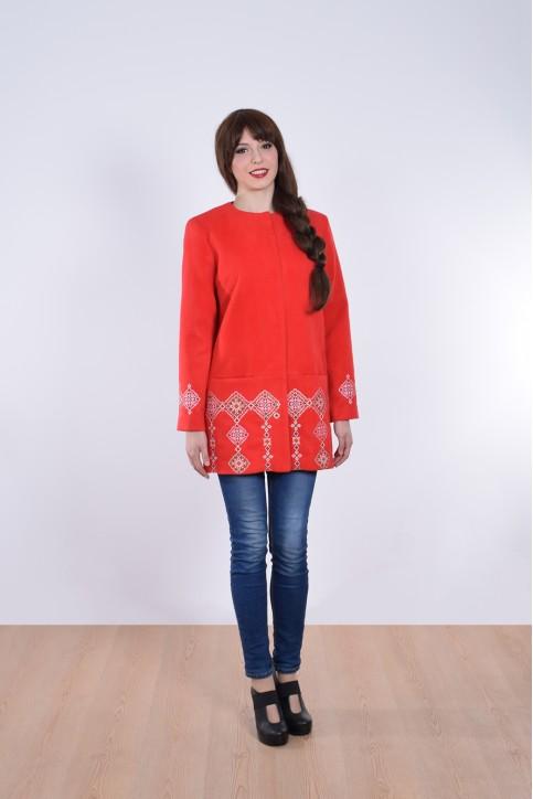 Купити кашемірове вишите пальто  Модерн (червоне)в Україні від Галичанка фото 1
