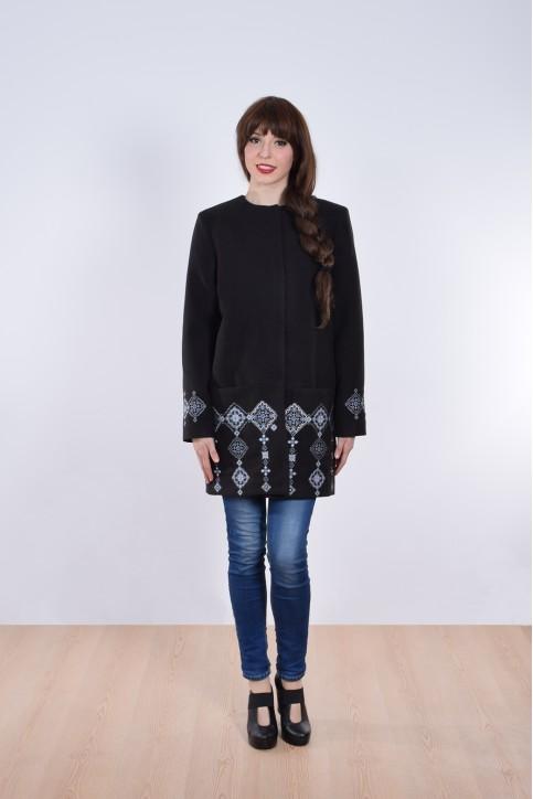 Купити кашемірове вишите пальто  Модерн (чорне)в Україні від Галичанка фото 1