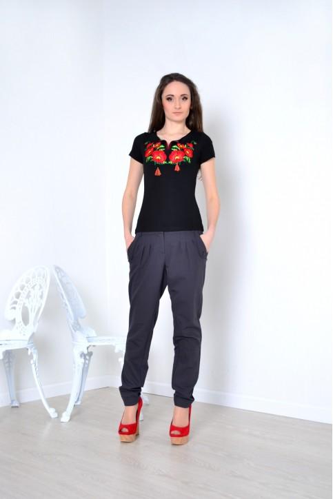 Купити жіночу футболку вишиванку Маків цвіт (чорна) в Україні від Галичанка фото 1