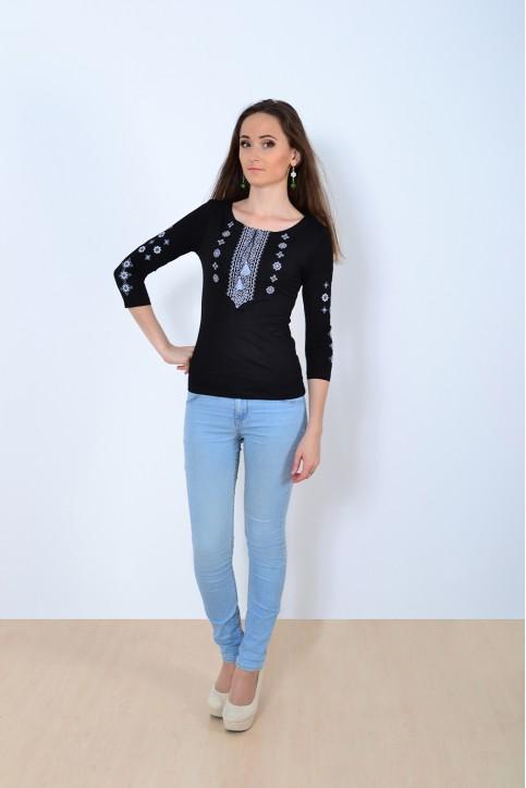 Купити жіночу футболку вишиванку Колорит (чорна з сірий) в Україні від Галичанка фото 1