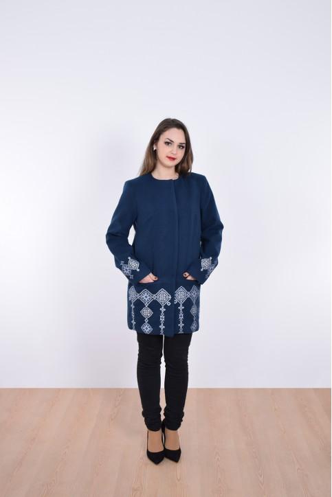 Купити пальто з вишивкою Модерн (темно синє)в Україні від Галичанка фото 1