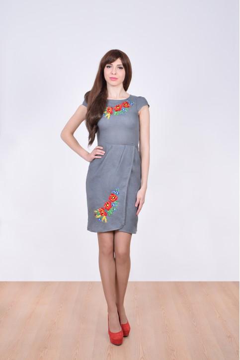 Купити вишиту сукню Полісся (сіре т.) в Україні від виробника Галичанка фото 1