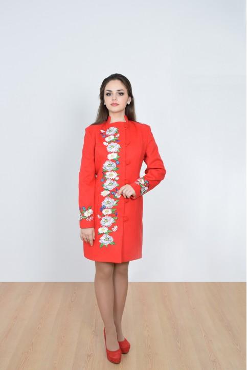 Купити пальто з вишивкою Квіткова фантазія (червоне)в Україні від Галичанка фото 1