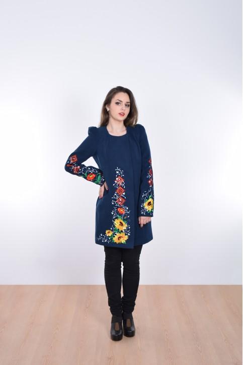 Купити пальто з вишивкою Долина сонця (темно синє)в Україні від Галичанка фото 1